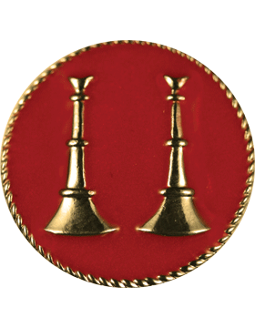 Collar Device (U-611G) Double Bugles Parallel on Disk with Red Enamel Gold