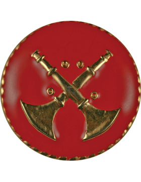 Collar Device (U-612G) Double Bugles Crossed on Disk with Red Enamel Gold