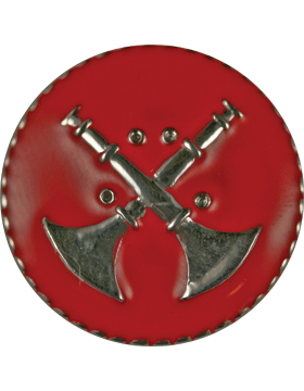 Collar Device (U-612S) Double Bugles Crossed on Disk with Red Enamel Silver