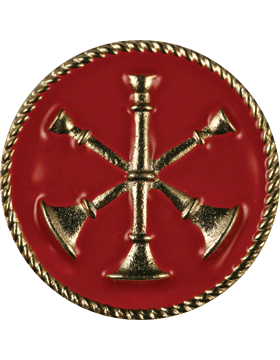 Collar Device (U-613G) Triple Bugles Crossed on Disk with Red Enamel Gold