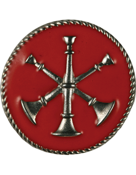 Collar Device (U-613S) Triple Bugles Crossed on Disk with Red Enamel Silver