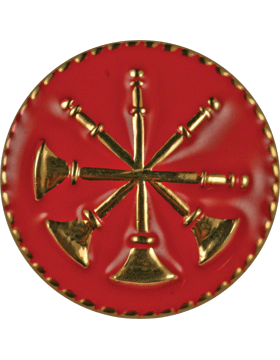 Collar Device (U-614G) Four Bugles Crossed on Disk with Red Enamel Gold