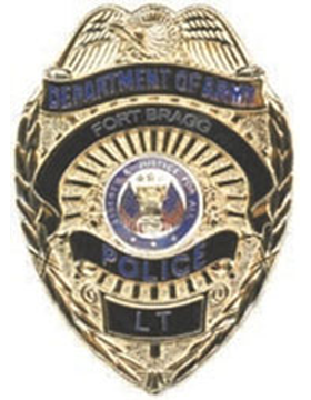 Dept of the Army Police Badge Gold with LT (Specify Name)