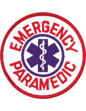 Novelty (U-N141A) Emergency Paramedic Round 4in Patch Red and Blue small