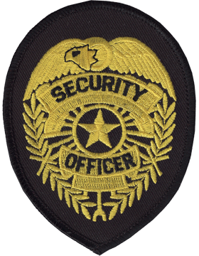 Novelty (U-N142B) Security Officer 4in Badge Gold on Black