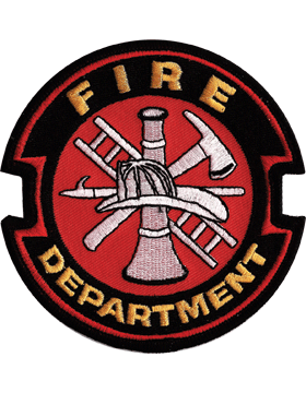 U-N342 Fire Department Patch with  Red Fire Dept. Symbol Gold on Black