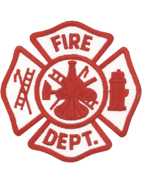 U-N344 Fire Department Patch Red and White