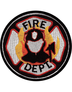 U-N406 Fire Department with Flames Round Patch