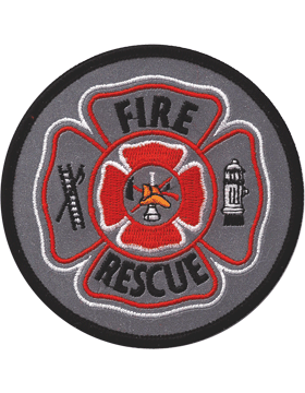 U-N418 Fire Rescue Shield Patch Gray