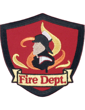 U-N420 Fire Department Shield Patch Black and Red