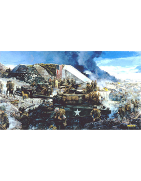 WWII Unframed Canvas Print High Ground at Easy Red