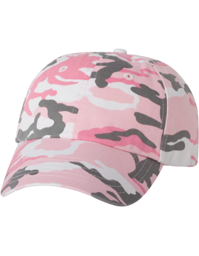 Adult Bio-Washed Unstructured Cap VC300A Pink Camo