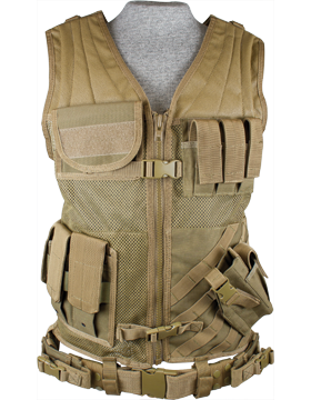 Cross Draw Vest Tan XL-XXL Adjustable CV