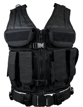Elite Tactical Vest And Pistol Belt Black M-XL Adjustable ETV