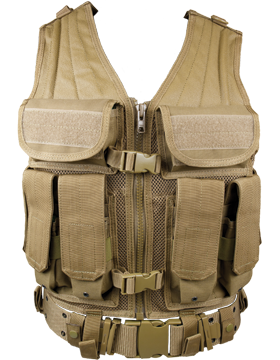 Elite Tactical Vest And Pistol Belt Tan M-XL Adjustable ETV