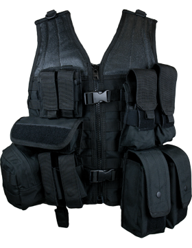 Molle Complete Modular Vest 8 Pouches Black M-XL Adjustable MVP