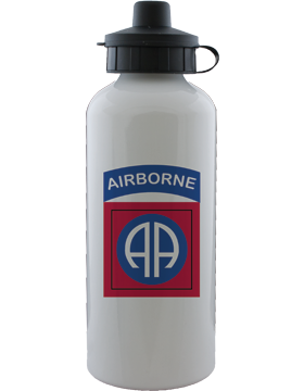 Water Bottle, White, 82nd Airborne Patch with Tab