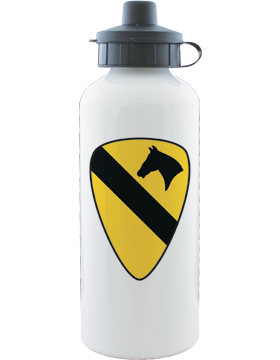 Water Bottle, White, 1st Cavalry Patch