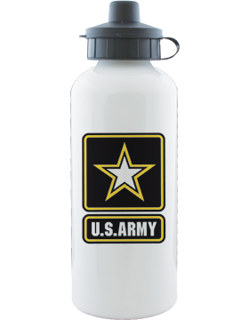 Water Bottle, White, Army Star with U.S. Army