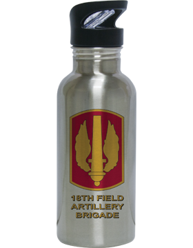 Water Bottle, Stainless Steel, 18th Field Artillery Brigade Patch