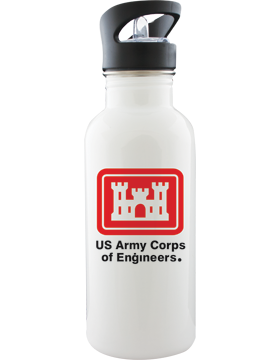 Water Bottle, White, US Army Corps of Engineers