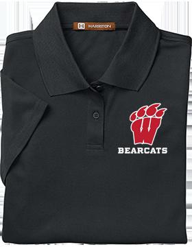 Weaver Bearcats Harriton Ladies Black Polytech Polo