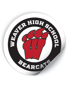 Weaver High School Bearcats Round Sticker White