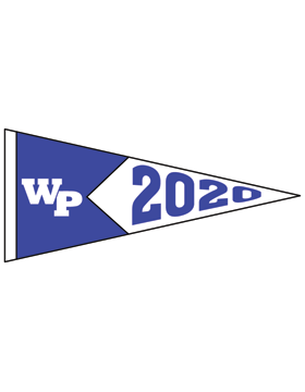 White Plains Logo with Year Customizable Alumni Pennant Sticker